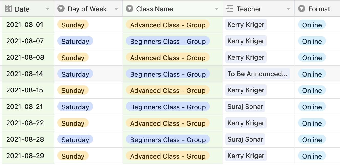 Bansuri Bliss Members Online Lessons August 2021 Schedule
